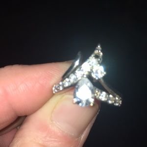 Size 7 silver and cubic zirconia ring